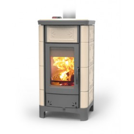 Ardhea Fiori wood thermo stove in majolica 23 kw Thermorossi