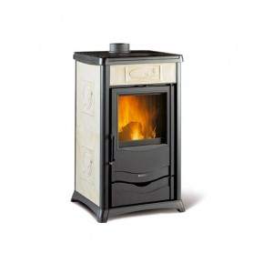 Termorossella Plus Evo DSA thermo wood stove in majolica parchement 12,8 kw la nordica