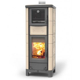Ardhea Fiori with oven wood thermostove in majolica 23 kw thermorossi