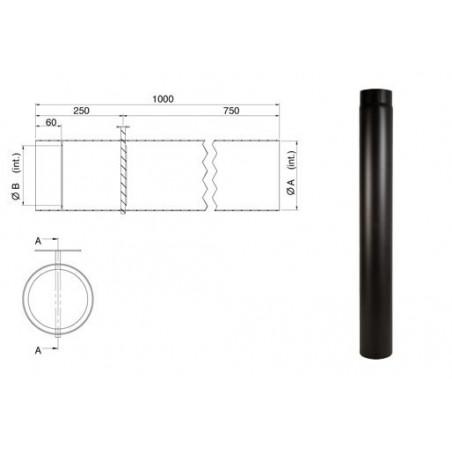 Tubo nero lunghezza 100 cm