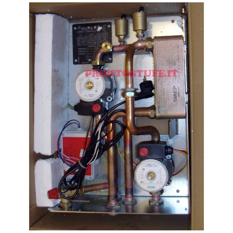 kit A1 termocamino abbinato a caldaia a gas, no sanitario